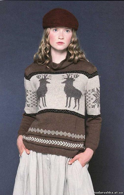 вязание свитеров с жаккардовым рисунком, кофточки вязанные спицами и...