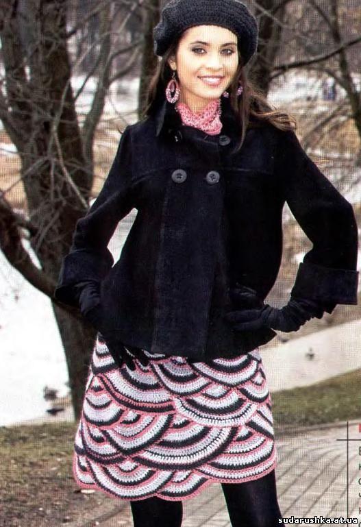 Зимняя вязанная юбка